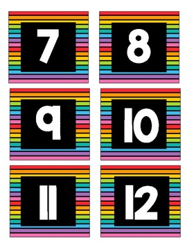 Neon Stripe Number Labels