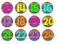 Neon Stripe Numbered Circle Labels