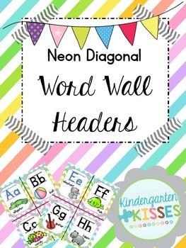 Neon Stripe Word Wall Headers