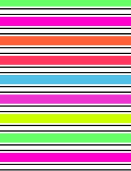 Neon Striped Digital Papers and Frames for Work Books, Cover Pages & Sellers