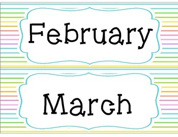 Neon Stripes Monthly Headers