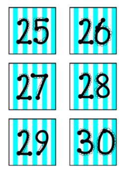 Neon Stripes and Polka Dot Classroom Calendar
