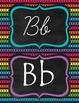 Neon Stripes manuscript & cursive ABC Classroom Decorations