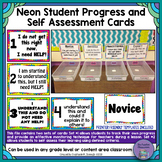 Neon Student Progress and Self Assessment/Formative Check Cards