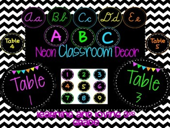 Neon Table Numbers, Alphabet, and Number Set