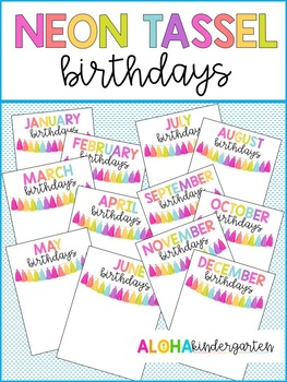 Neon Tassel Happy Birthday Posters