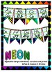 Neon Themed Bundle - Alphabet banner, Bulletin Board Letters, NamePlates