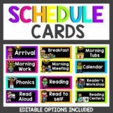 Neon Themed Classroom Decor Schedule Cards