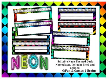 Neon Themed EDITABLE Desk / Name Plates
