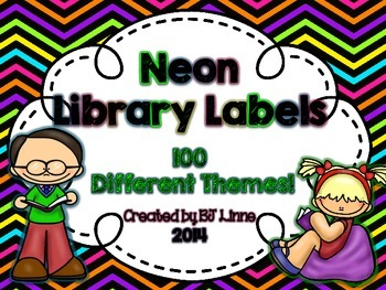 Neon Themed Library Labels