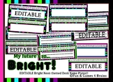 Neon Themed editable nameplates with alphabet strips