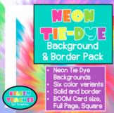 Neon Tie-Dye Rainbow Background Border Frame | Digital Paper | (Boarder)