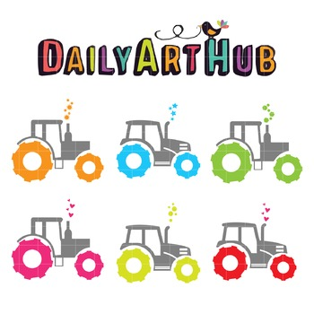 Neon Tractors Art Clip Art - Great for Art Class Projects!