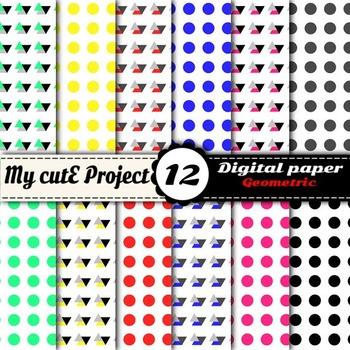 Neon Triangle and polk dots DIGITAL PAPER - Scrapbookin ne