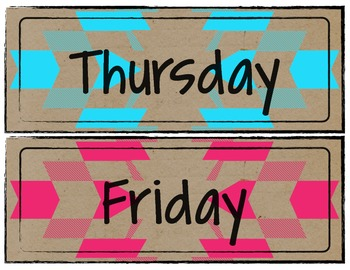 Neon Tribal Days of the Week