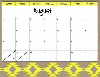 Neon Tribal Monthly Calendar 15-16 FULL YEAR