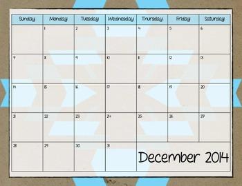 Neon Tribal Monthly Calendar 2014-2015