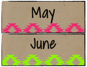 Neon Tribal Months of the Year