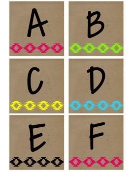 Neon Tribal Print Alphabet (Upper Case)