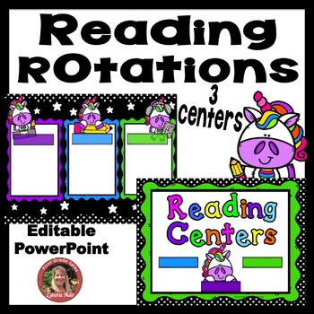 Neon Unicorn Digital Reading Rotation For 3 Guided Reading Centers By Laura Ado
