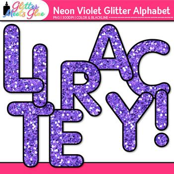Neon Violet Alphabet Clip Art {Glitter Letters for Classroom Decor & Resources}