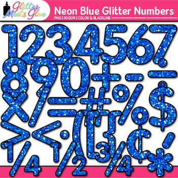 Neon Blue Math Numbers Clip Art {Great for Classroom Decor & Resources}