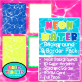 Neon Water Rainbow Background Border Frame | Digital Paper | (Boarder)