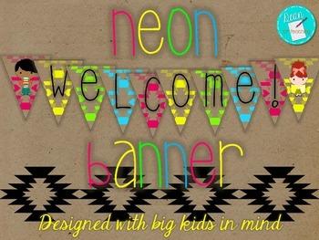 Neon Welcome Banner, big kid readers