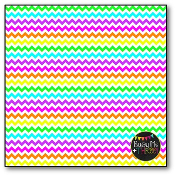 Neon & White Chevron Digital Papers {Commercial Use Digital Graphics}