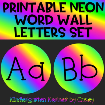 NEON Word Wall Header and Letter Set Bulletin Board 2 Font Choices