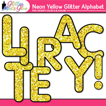 Neon Yellow Alphabet Clip Art {Glitter Letters for Classroom Decor & Resources}