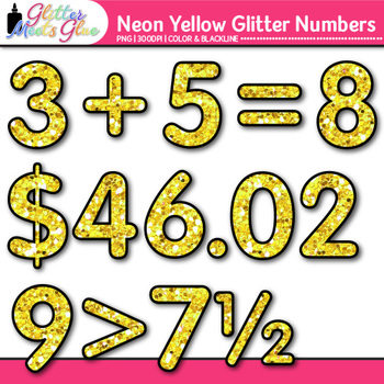 Neon Yellow Math Numbers Clip Art {Great for Classroom Decor & Resources}