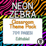 Classroom Theme Decor / Organization - Mega Bundle (Editable!) - Neon Zebra