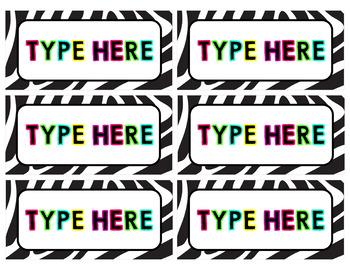 Neon Zebra Labels {Editable}