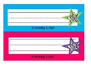 Neon Zebra and Star Deskplates---New Font