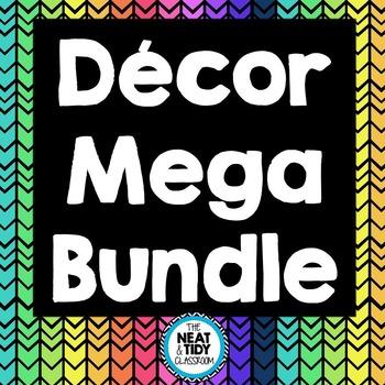 Neon and Black Chevron Decor Mega Bundle