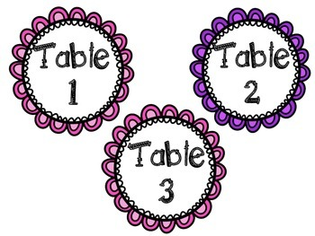 Neon and Black Table Numbers