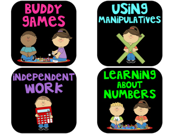 Neon and Bright Colored Daily Five B.U.I.L.D. Math Center Cards