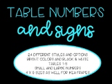 Neon and Bright Colored Table Numbers and Signs (Black & White Versions too)
