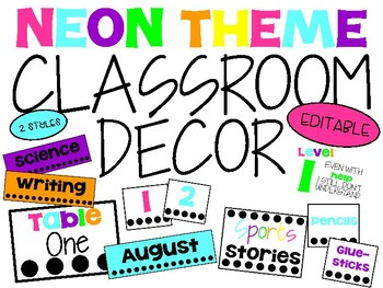 Neon and Bright Themed Classroom Decor / Decoration