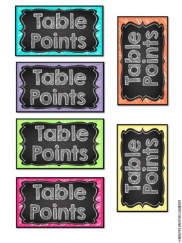 Neon and Chalkboard Group Labels (Table points, Table Containers, etc)