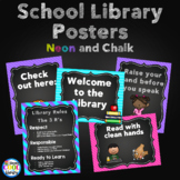 Neon and Chalkboard Library Poster Set