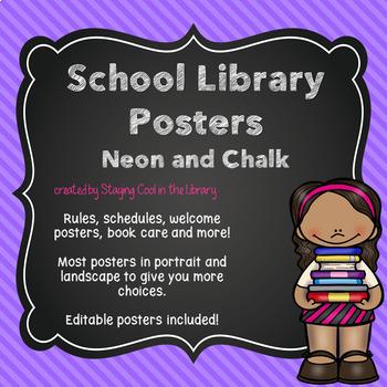 Neon and Chalkboard Library Decor - BUNDLE