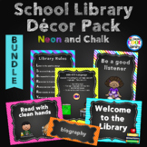 Neon and Chalkboard Library Posters Décor - BUNDLE