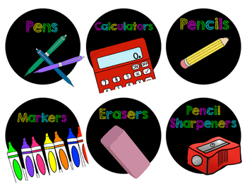 Neon and Chalkboard Math Manipulative Labels