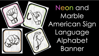 Neon and Marble American Sign Language Alphabet Banner