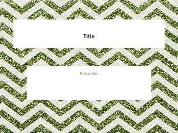 Green chevron glitter Powerpoint template