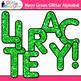Neon Green Alphabet Clip Art {Glitter Letters for Classroom Decor & Resources}