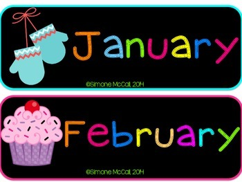 Neon on Black Calendar Headers