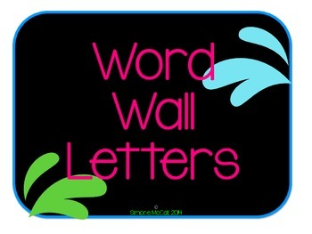 Neon on Black Word Wall Letters